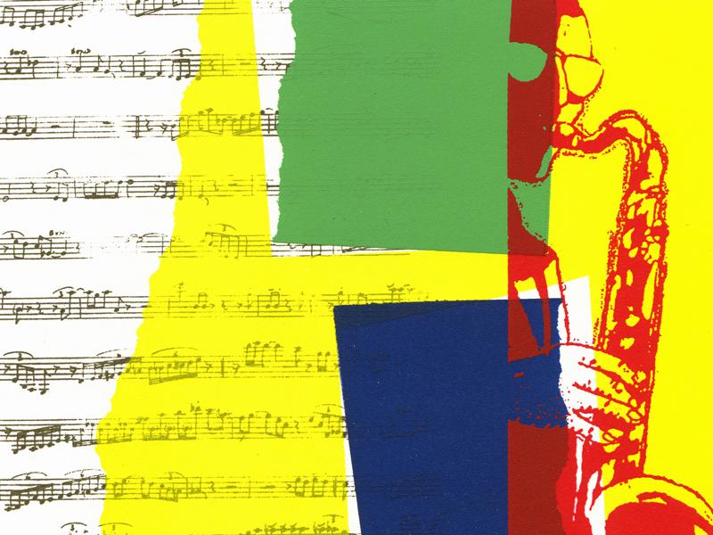 Siebdruck Saxophon Besame mucho