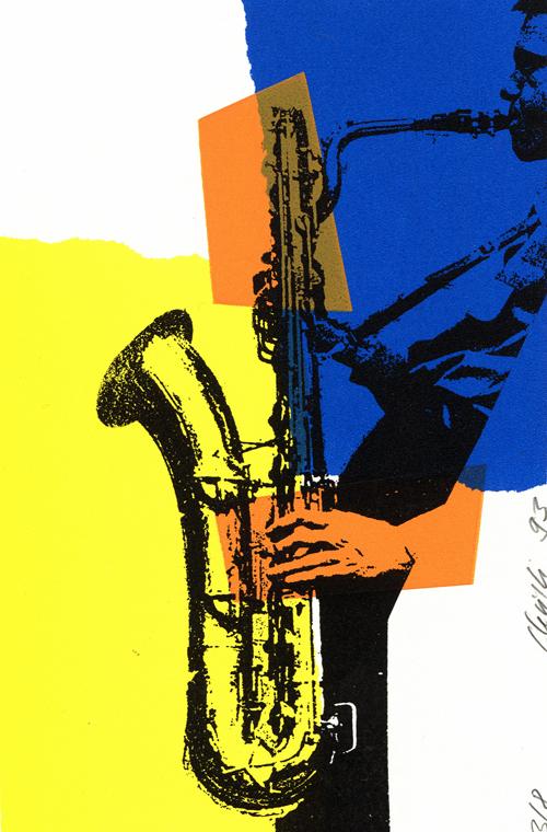 Siebdruck Saxophon Serie