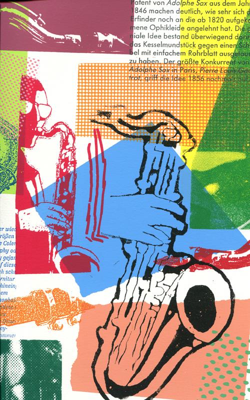 Saxophon Siebdruck Serie